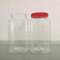 Toples Jar 2000ml Kotak Plastik Coklat Kue / Toples Cupang 2L 2 Liter