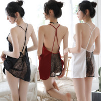 Sexy Backless Dress Tali Silang Satin Renda Lingerie Gaun malam