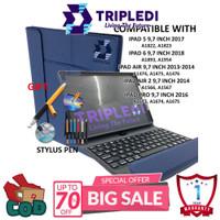 TRIPLEDI Case iPad Air 3 Pro 10.5 inch Keyboard Backlit LED RGB Stylus - Biru