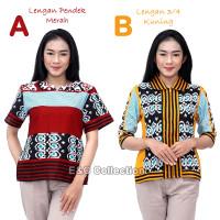 Atasan Batik Wanita Motif Tenun Songket Ceria - Blouse Batik Wanita