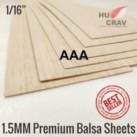 Balsa sheet tebal 1,5mm 10x100cm (1,5x100x1000mm) murah