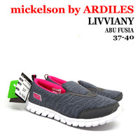 Sepatu Slip On Wanita AMS-LIVVIANY Mickelson Ardiles Abu Fusia