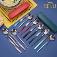 Sujeo Sendok Garpu Sumpit Korea Stainless Steel Portable Set Premium