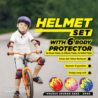 Helm Set Sepeda Anak Helm Sepatu Roda Dan Dekker Pelindung