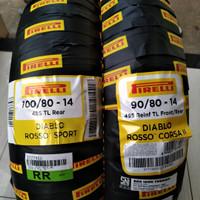 Ban motor Sepasang PIRELLI ROSSO SPORT 100/80-14 & CORSA II 90/80-14