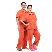 Zavyn Setelan Piyama Couple Setelan Kemeja Salur Orange - cewe M cowo L