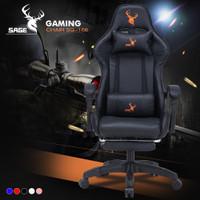 SAGE Chair Kursi bangku GAMING game With Footrest 145 ° SG-168 HITAM