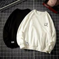 Sweater Pria Wanita Saturnus Oblong Fleece Tebal Baju Hitam Putih