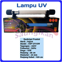 Lampu UV SubmersIble Sterilizer Lamp Aquarium AQURA ASP UV 15 Watt
