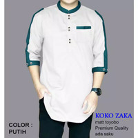Koko ZAKA, Baju Kemeja Koko Pria Muslim terbaru - Putih, L