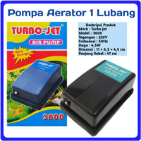 Pompa Aerator Aerasi Aquarium Single outlet TURBO JET Air Pump 3600