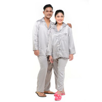 Zavyn Setelan Piyama Couple Satin Silk Belt List Silver - cewe M cowo L