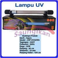 Lampu UV SubmersIble Sterilizer Lamp Aquarium AQURA ASP UV 20 Watt
