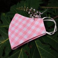 Masker Wanita Kain Mulut 3 Ply Baby Pink Motif Kotak
