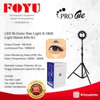 LED Bi-Color Star Light X Lamp Ring Light Pro One S-180X dan Stand G-I