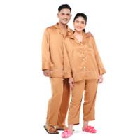 Zavyn Setelan Piyama Couple Satin Silk Belt List Mocca - cewe M & cowo L