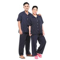 Zavyn Setelan Piyama Couple Setelan Kemeja Salur Navy - cewe M cowo L