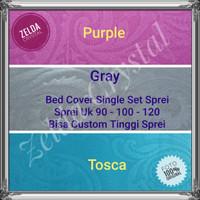 Bed Cover Single Set Seprei Putih & Warna 90-100-120 Katun Jepang Ukir - PURPLE