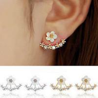 Earrings Korea - Aksesoris Anting Wanita Aksen Bunga Kristal Silver Go