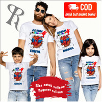 KAOS COUPLE FAMILY BAJU ULANG TAHUN ANAK TEMA SPIDERMAN-BEST SELLER-