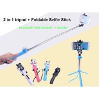 Tongsis bluetoth tripod 2 in 1 kamera hp samsung oppo xiomi iphone