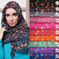 DISCON Kerudung zoya Segiempat Jilbab Hijab segi empat Motif Bunga