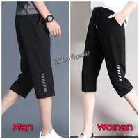 Celana Pendek Capri 3/4 Pria Wanita Olahraga Gym Lari Sepeda Big Size - 3/4 HitamSilver, 2XL