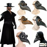 Topeng Burung Doctor Plague Latex Kulit PU Paruh Panjang Fullface Mask