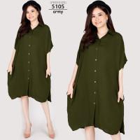 XXXL LD130 Dress Casual Super Jumbo Baju Santai Hamil BigSize Oversize - 5105-army