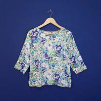 Blus Size L Lengan 3/4 Ungu Motif Bunga Adem Stylish KP136
