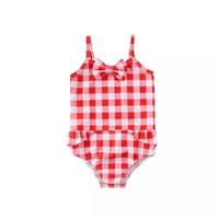 Red Plaid Swimsuit One Piece Baby | Baju Renang Anak Bayi Merah Kotak