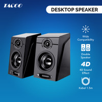 TACOO Desktop/PC Speaker Aktif Kabel Double Horn 4D Effect Black