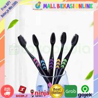 SK01 (1pcs) Bamboo Charcoal Toothbrush Sikat Gigi Arang Bambu Hitam - Pink