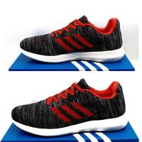 sepatu adidas pria sepatu sport sepatu olahraga sepatu joging pria - Hitam merah, 39