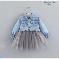 Set amora kids 3in1 -Baju Setelan Wanita Jeans wash +Inner +Rok