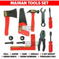 Mainan Anak Tools Handy Alat Perkakas Tukang Bangunan Palu Kapak Obeng