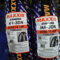 Paket Ban Luar Motor Maxxis Diamond MA-3DN 80/90-14 & 90/90-14 Tubeles
