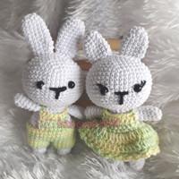 Boneka kelinci pasangan handmade rajutan amigurumi couple bunny 10cm
