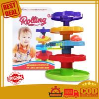 Cotton Rolling Mainan Bola 5 Susun Track Seluncur Edukasi Anak