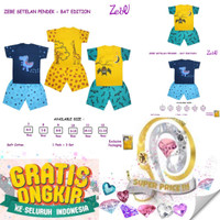 Zebe Setelan Pendek Bat Edition By Kazel Baju Set Anak Motif Katun