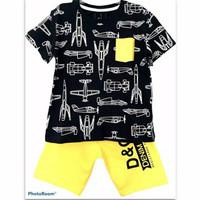 1-6T Setelan baju kaos anak laki laki Pesawat Full hitam