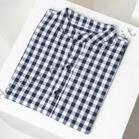 Kemeja Pattern Pria Motif Kotak Lengan Pendek Premium Big White Black