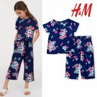 BAJU HM SETELAN HNM KULOT FLOWERS BLUE ANAK PEREMPUAN H&M