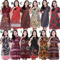 Dress Batik Wanita Terbaru Lengan Pendek   Baju Dress Batik Murah   LC