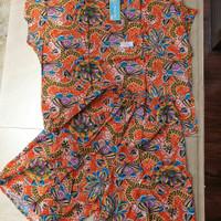 Baju Lengan Pendek Celana Kulot Jumbo Batik Kencana Ungu Label Biru B