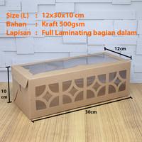 Cake Box/Dus/Kue Lapis Legit/Bolu Gulung Laminasi Size L (12x30x10)