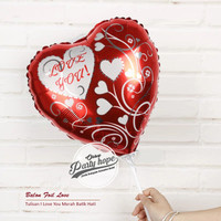 balon foil hati love you 3 / balon hati merah motif / balon valentine