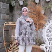 Baju Batik Blouse Kombinasi Motif Soft Abu Silver Kombinasi Terbaru