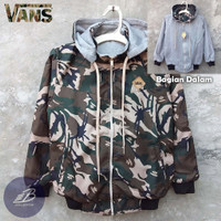 Jaket Vans Army Anak Bolak-Balik Parasut Fleece / Jaket BB Loreng