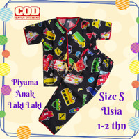Piyama anak laki laki cowok setelan baju tidur size S usia 1 - 2 thn